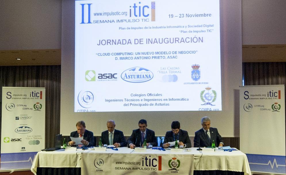 Mesa de inauguración de la II Semana de Impulso TIC